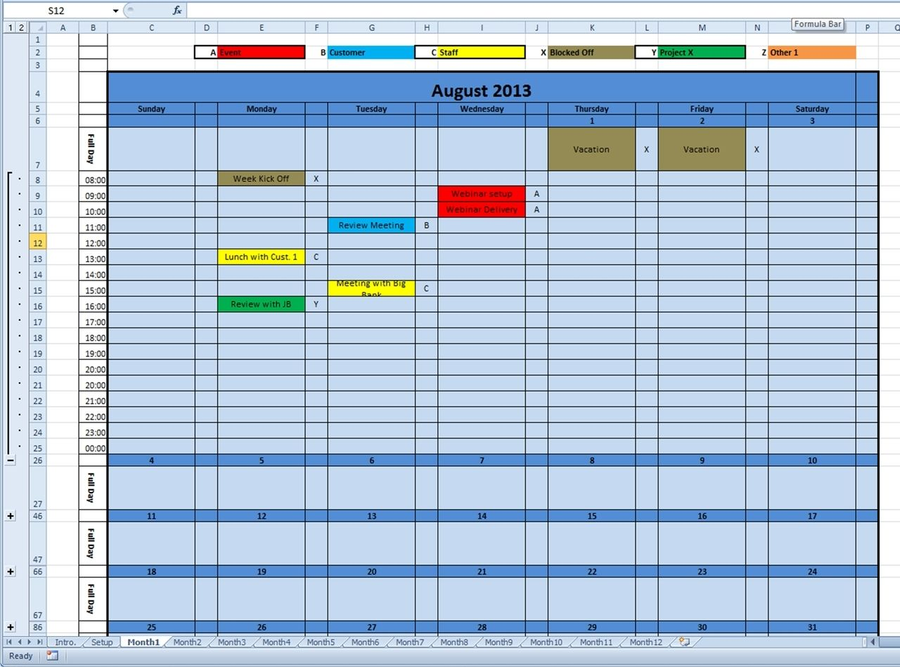 Printable Monthly Calendar Excel Template