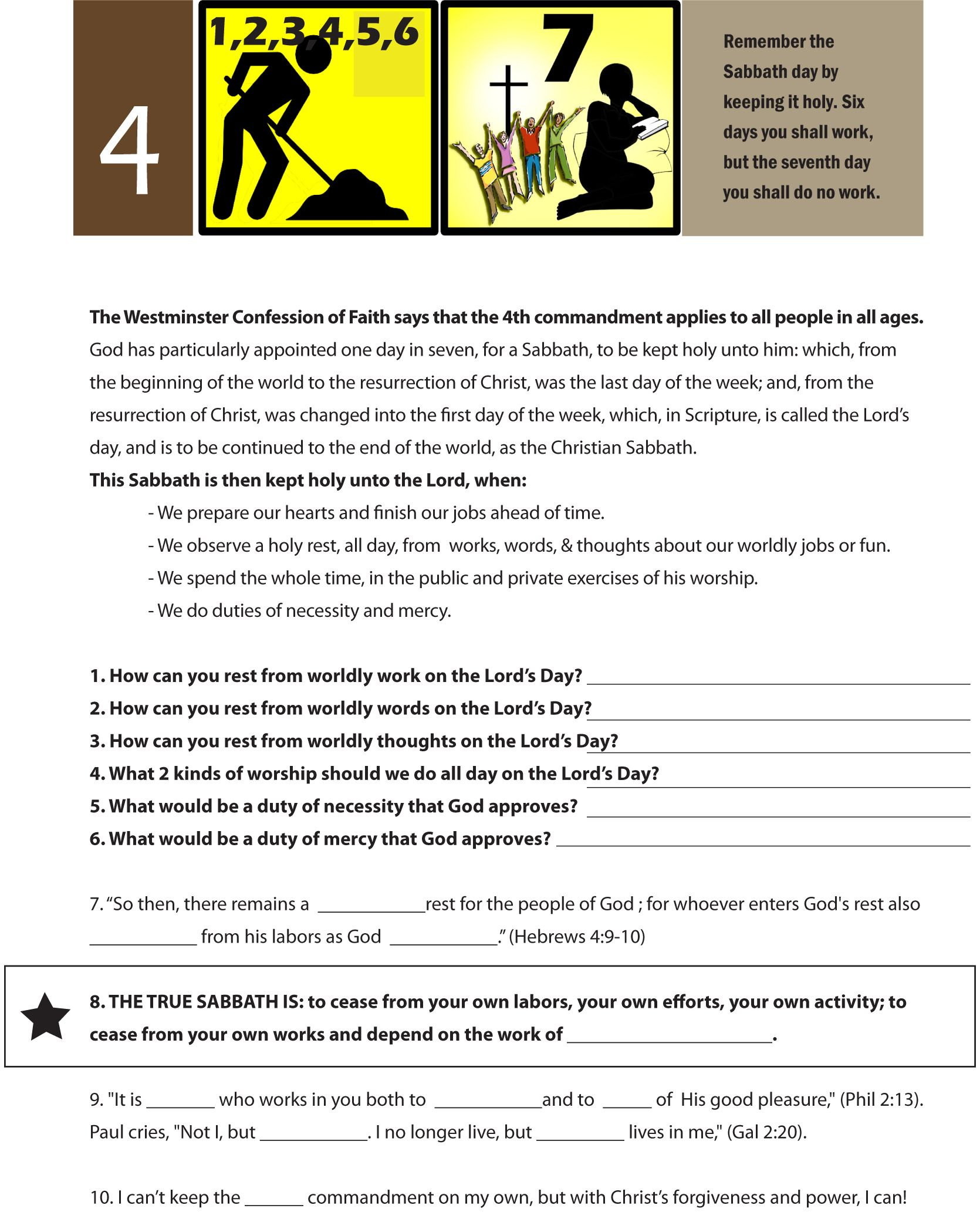 Worksheet To Teach The Fourth Of The 10 Commandments Work