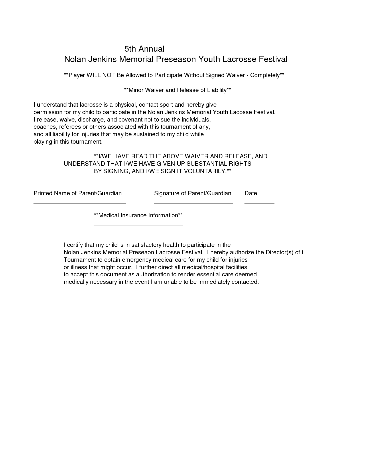 Doc736952 Free Printable Liability Release Form Printable – Liability Waiver Template Free