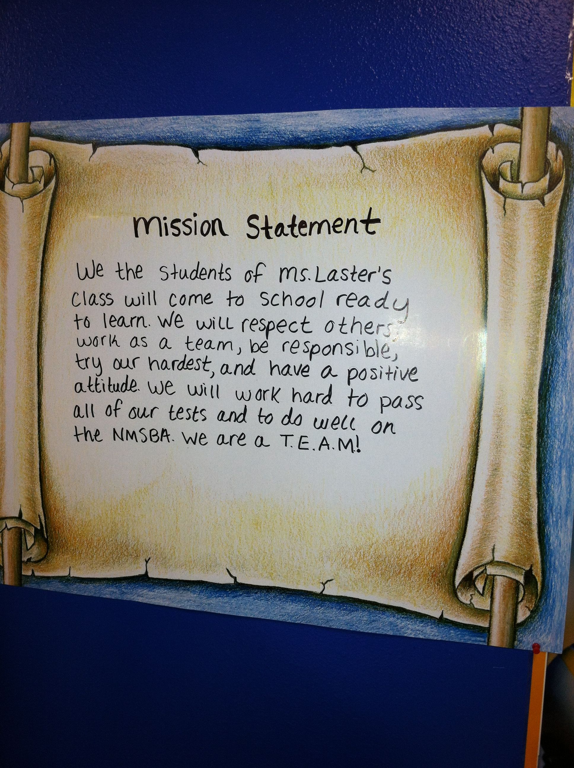 Class Mission Statement 5th Grade