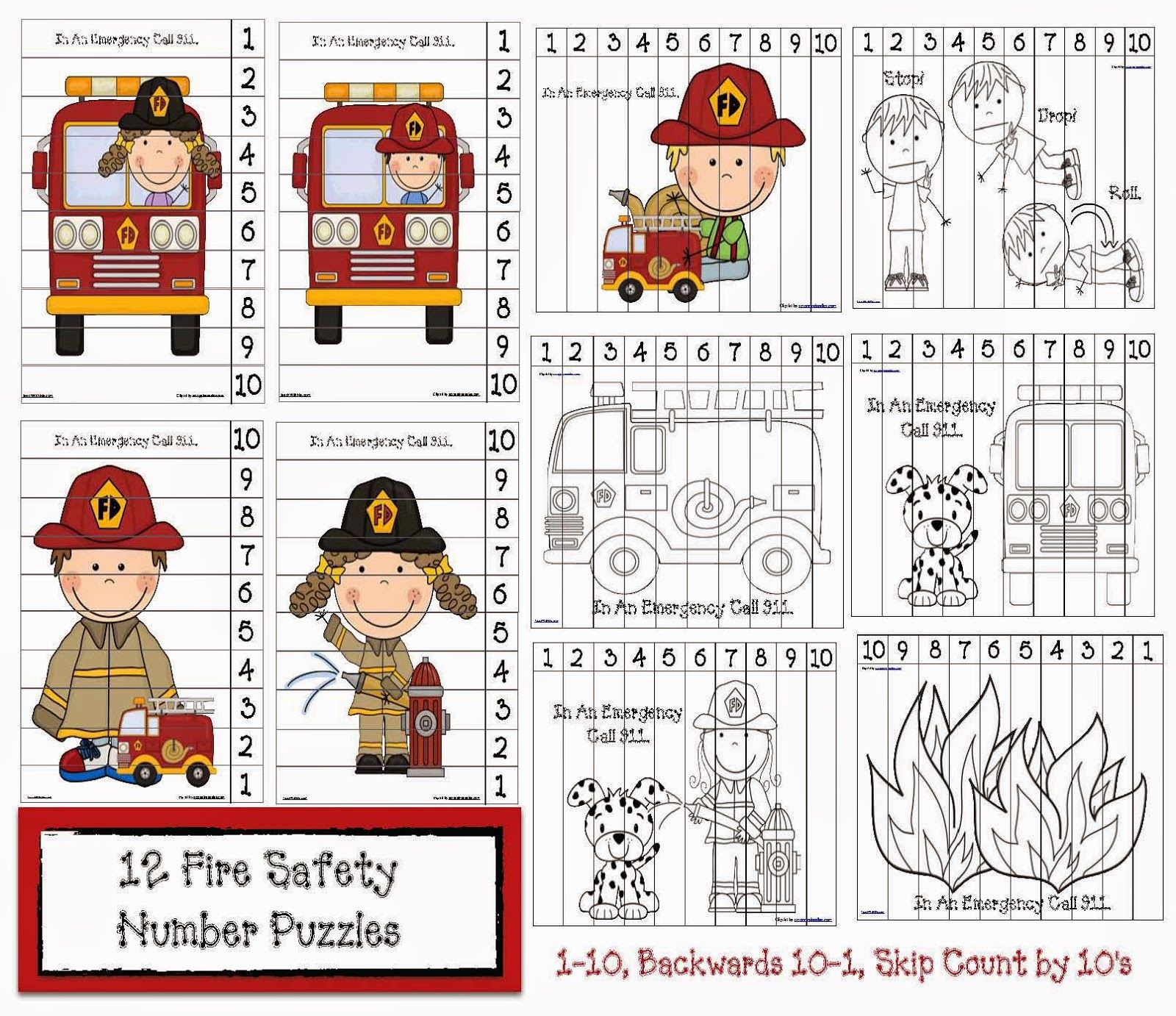 Fire Safety Number Puzzles