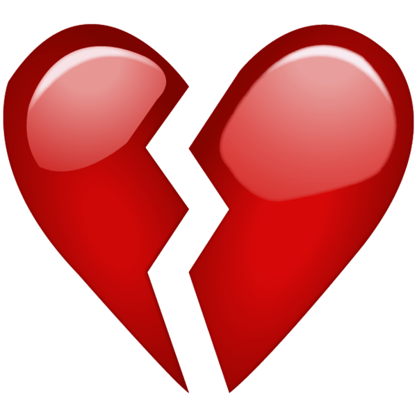 Broken Red Heart Emoji PNG. When your heart is broken over