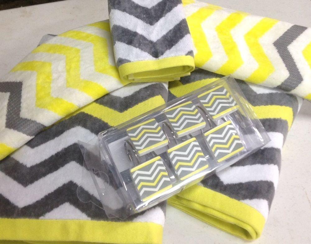 17 pc chevron bright yellow gray white bathroom set bath towel