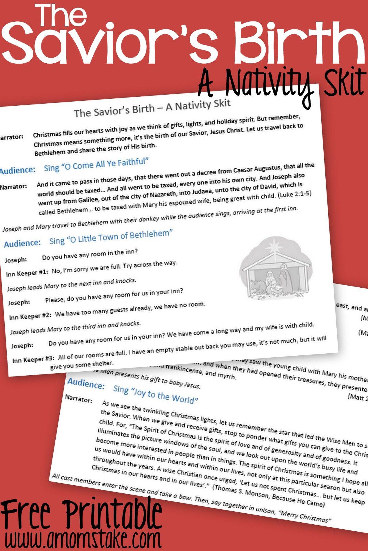 The Savior's Birth A Nativity Skit Script with Music