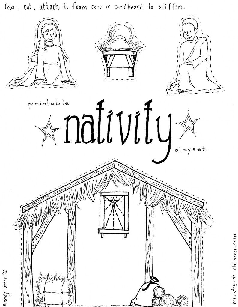 """Jesus in the Manger"""" Coloring Pages Nativity Playset"""