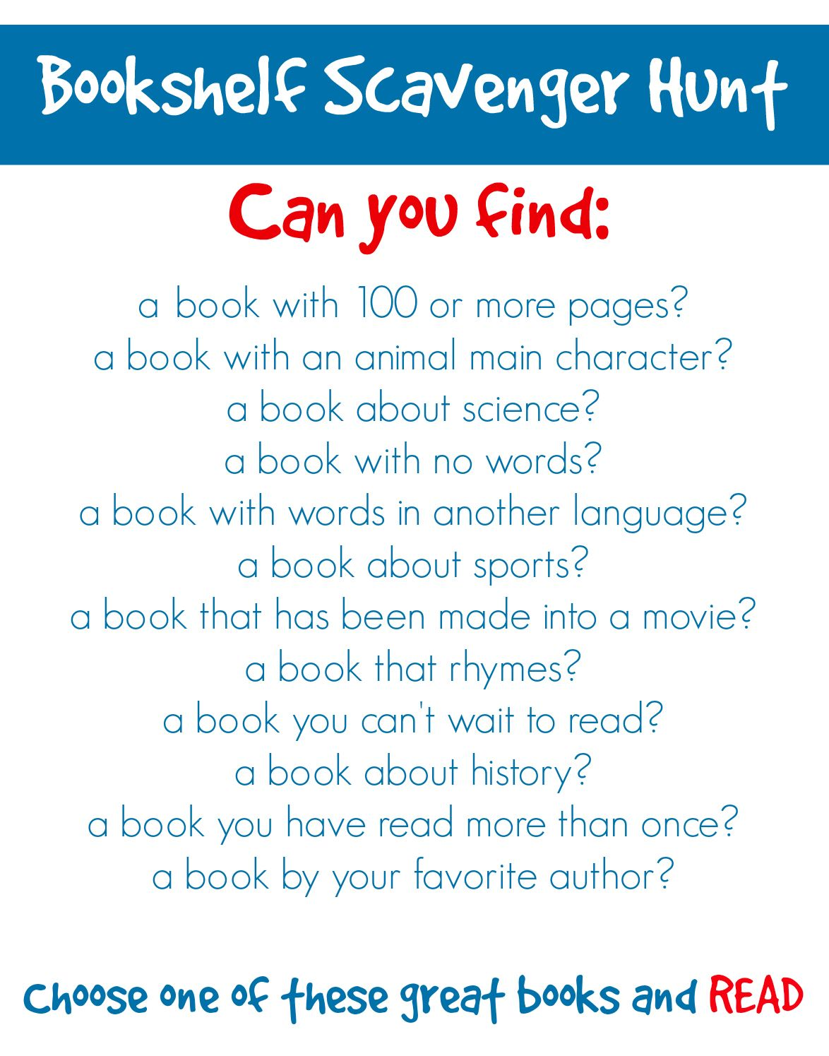 Challenge Kids To A Bookshelf Scavenger Hunt