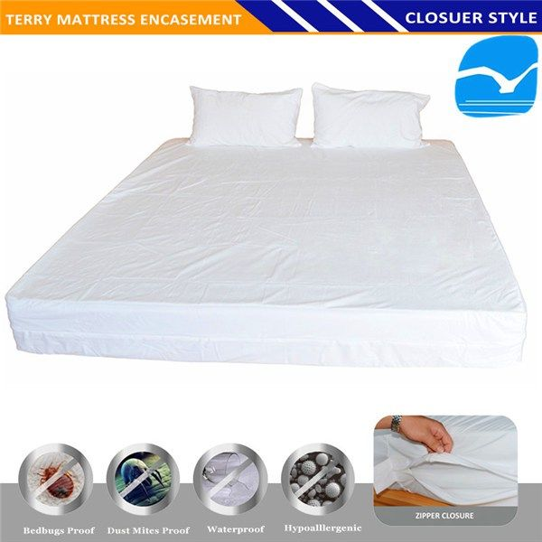 Hotel Quilted Mattresses Cover Waterproof Permeable Mattress Polyurethane Bed Sheets Organic Cotton Fabric In