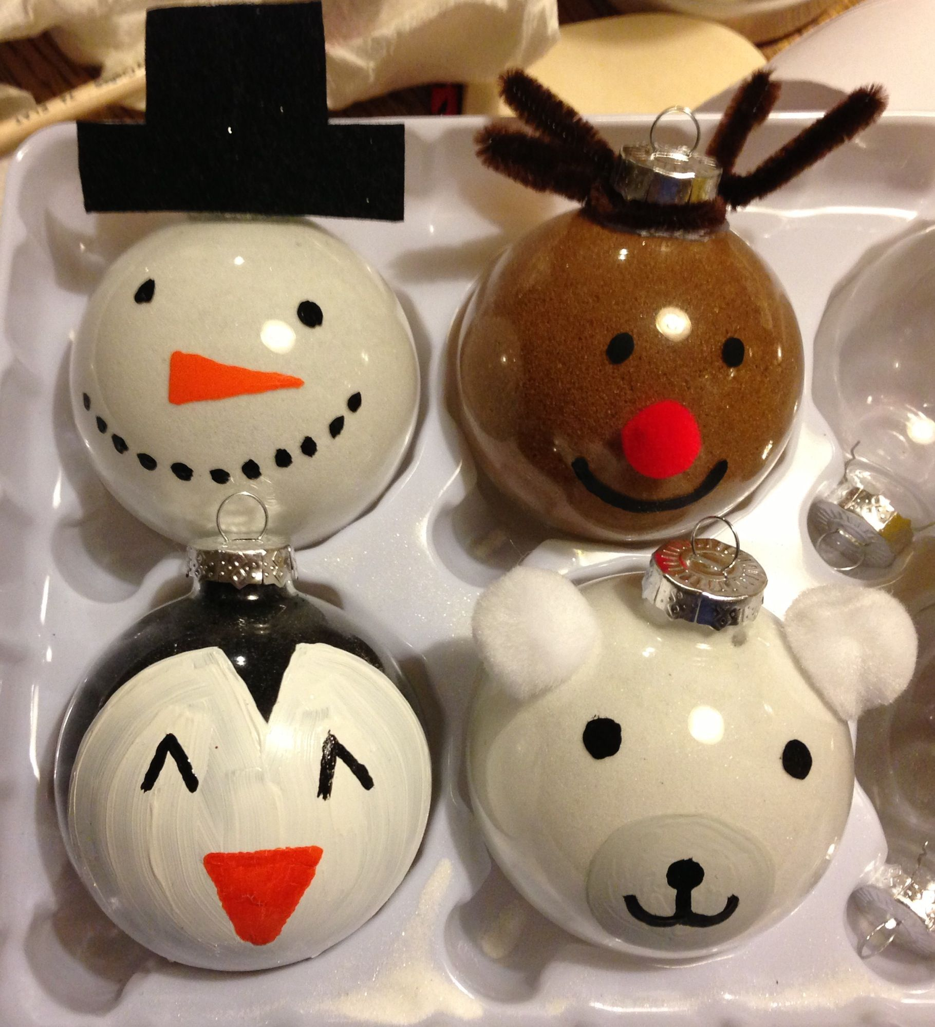 Cute holiday DIY ornaments! Rudolph, snowman, penguin and