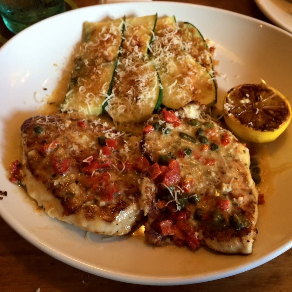 Olive Garden Chicken piccata with Parmesan crusted