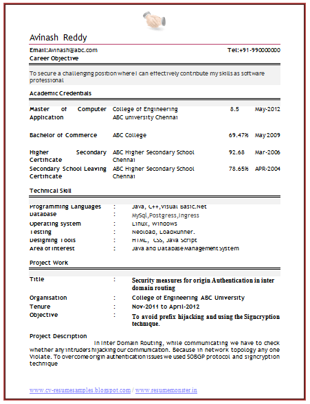 resume format for freshers computer engineers acbb