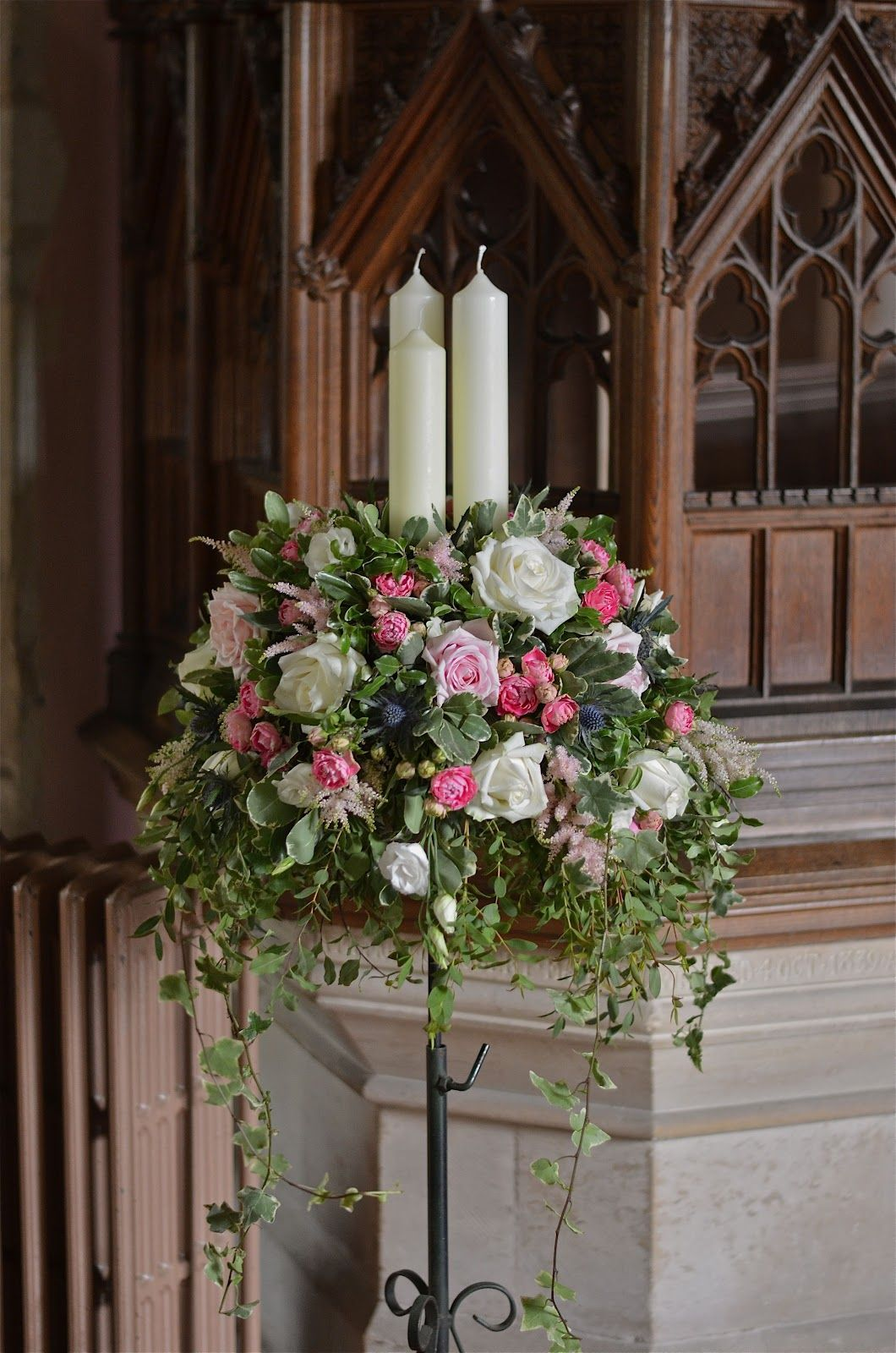 church weddings Church pedestal flowers with candles