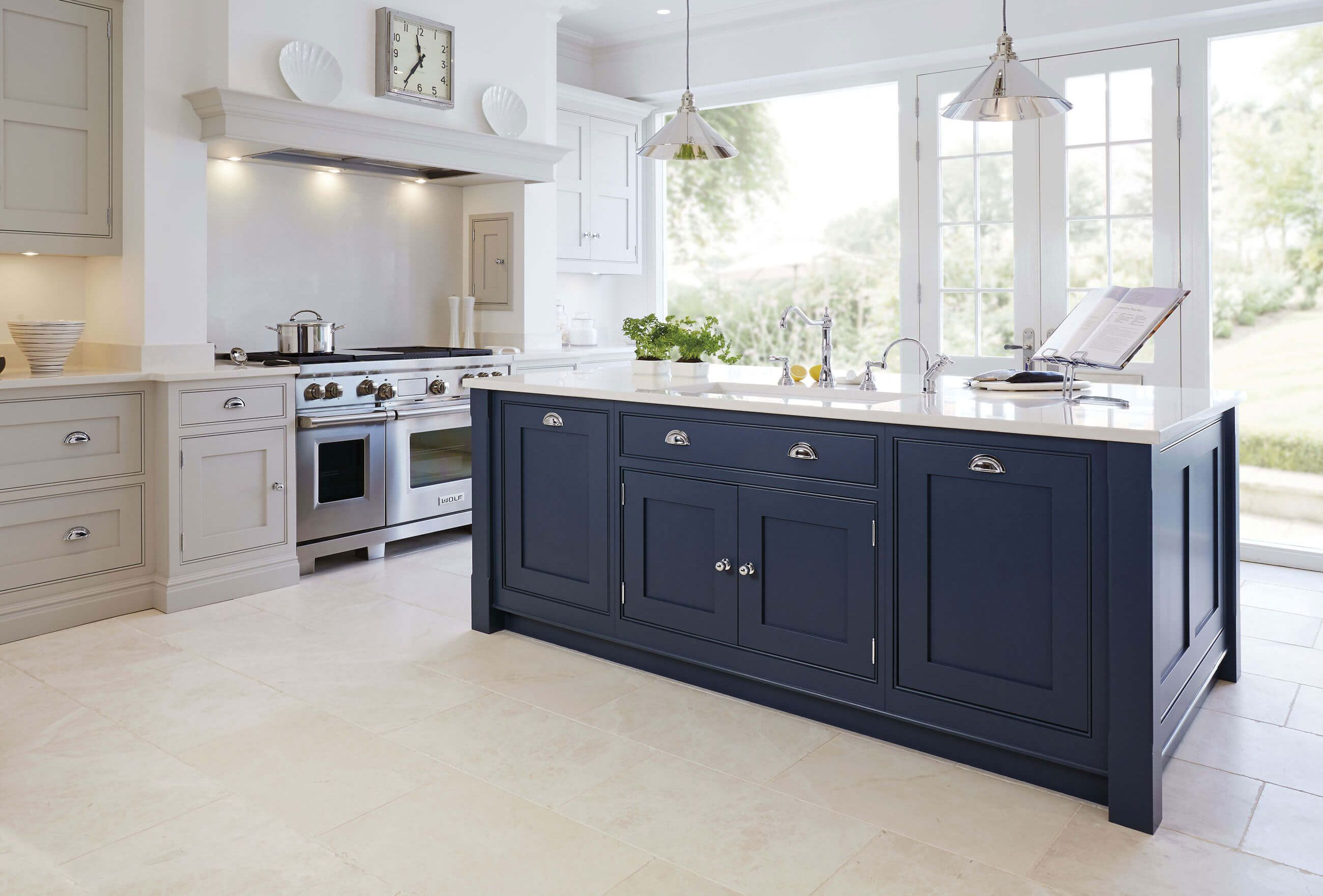 Best Kitchen Gallery: Luxury Blue Painted Kitchen With Feature Island With Full Length of Luxury Blue Kitchens on rachelxblog.com