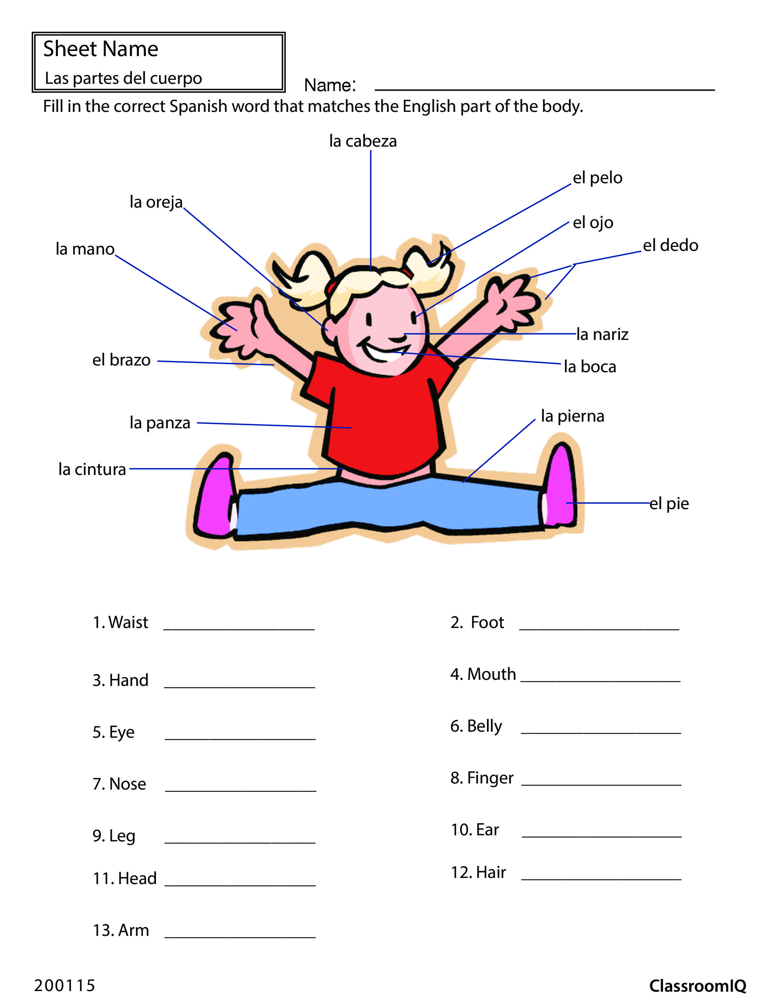 Body Parts In Spanish Spanishworksheets Classroomiq Newteachers