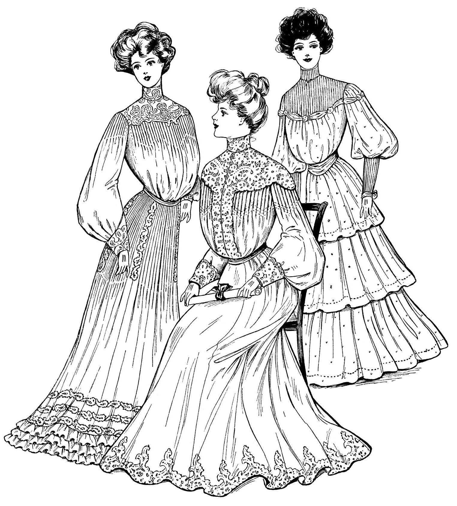 Victorian Lady Clip Art Antique Grad Dress Illus Black