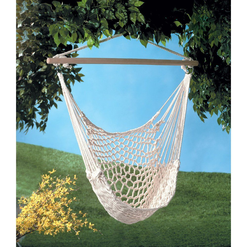 Cotton Rope Hammock Cradle Chair With Wood