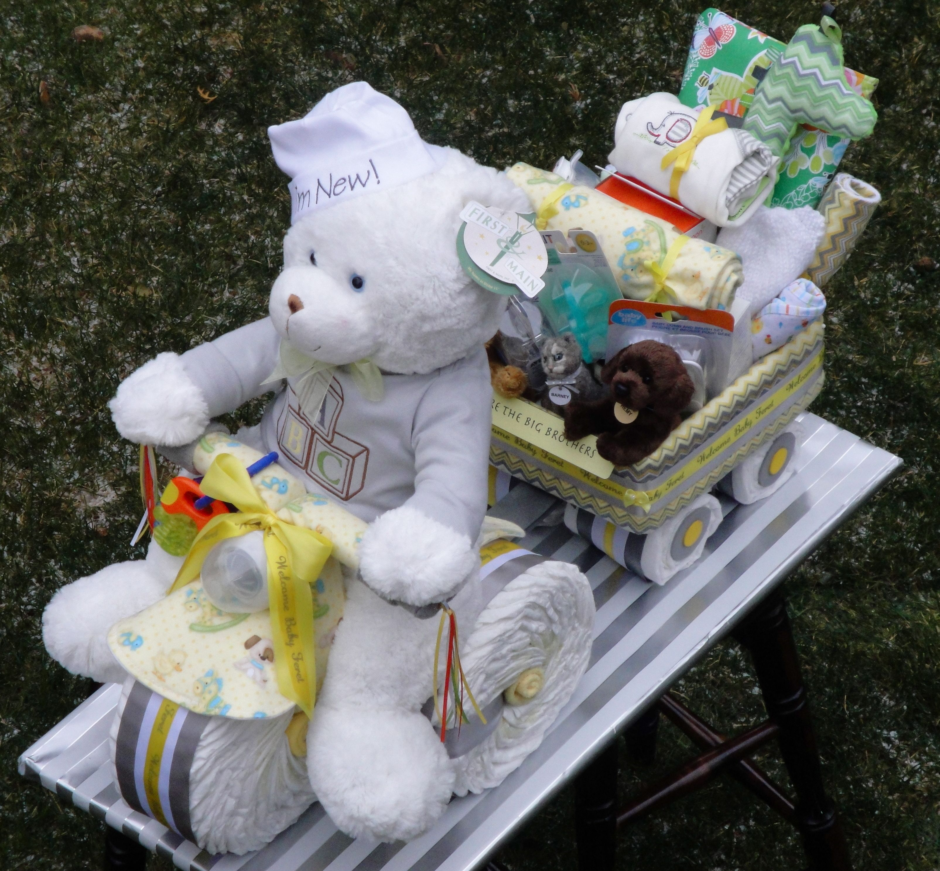 Tricycle Diaper Cake Pulling A Wagon Filled With Goo S