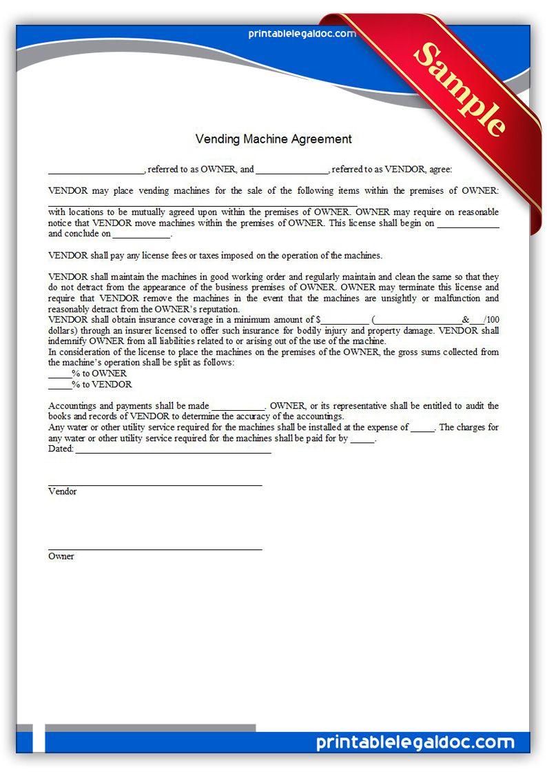 Printable vending machine agreement Template PRINTABLE