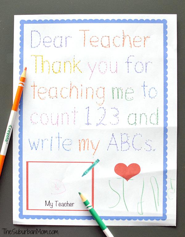 Traceable Preschool Teacher Thank You Note Preschool