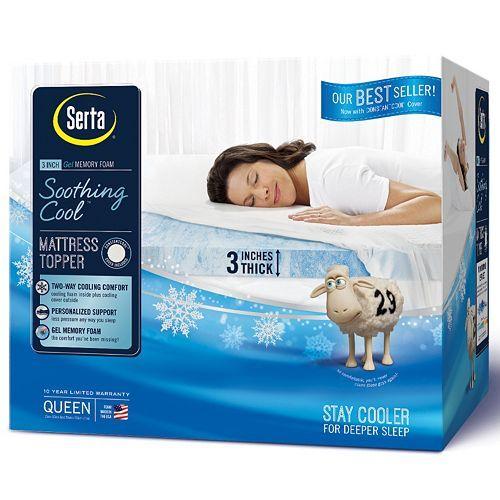 Serta 3 Inch Soothing Cool Gel Memory Foam Mattress Topper