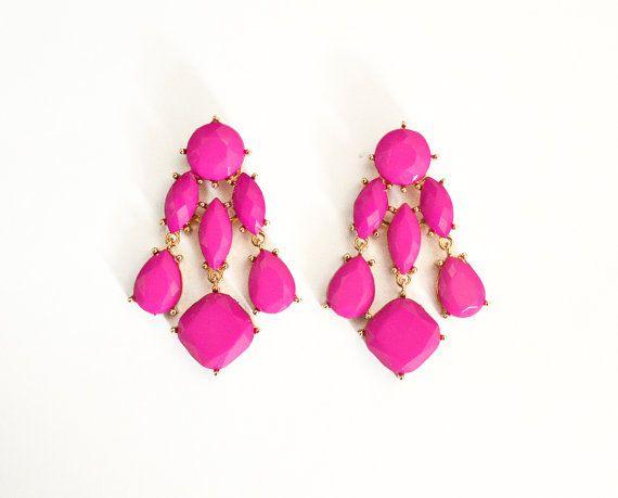 Statement Chandelier Earrings Hot Pink By Shamelesslysparkly 7 90