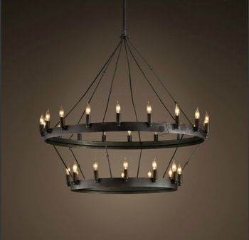 Black Candle Chandelier Core Grand American Country Nostalgic
