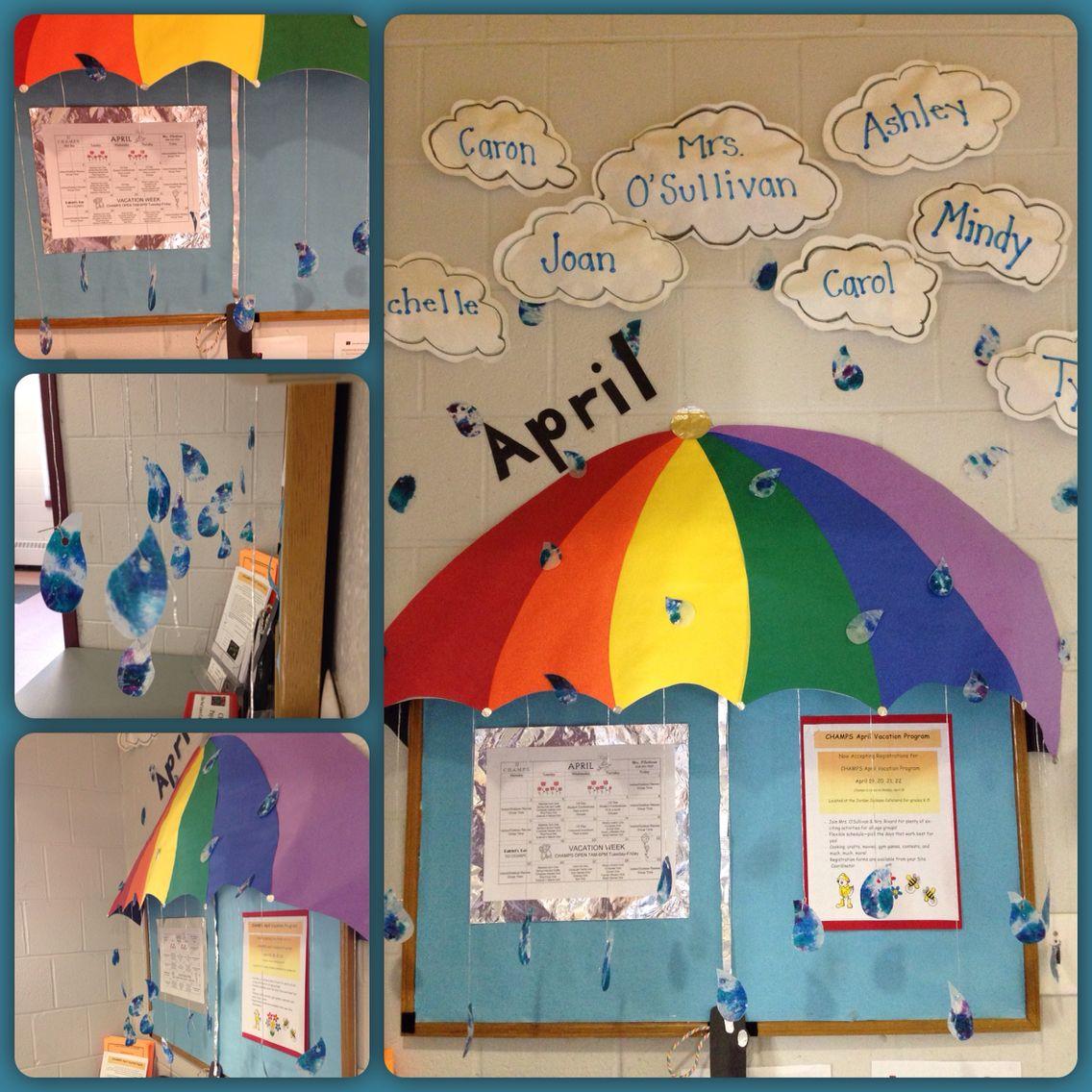 April Showers Bulletin Board Stuffed Paper Clouds Wax