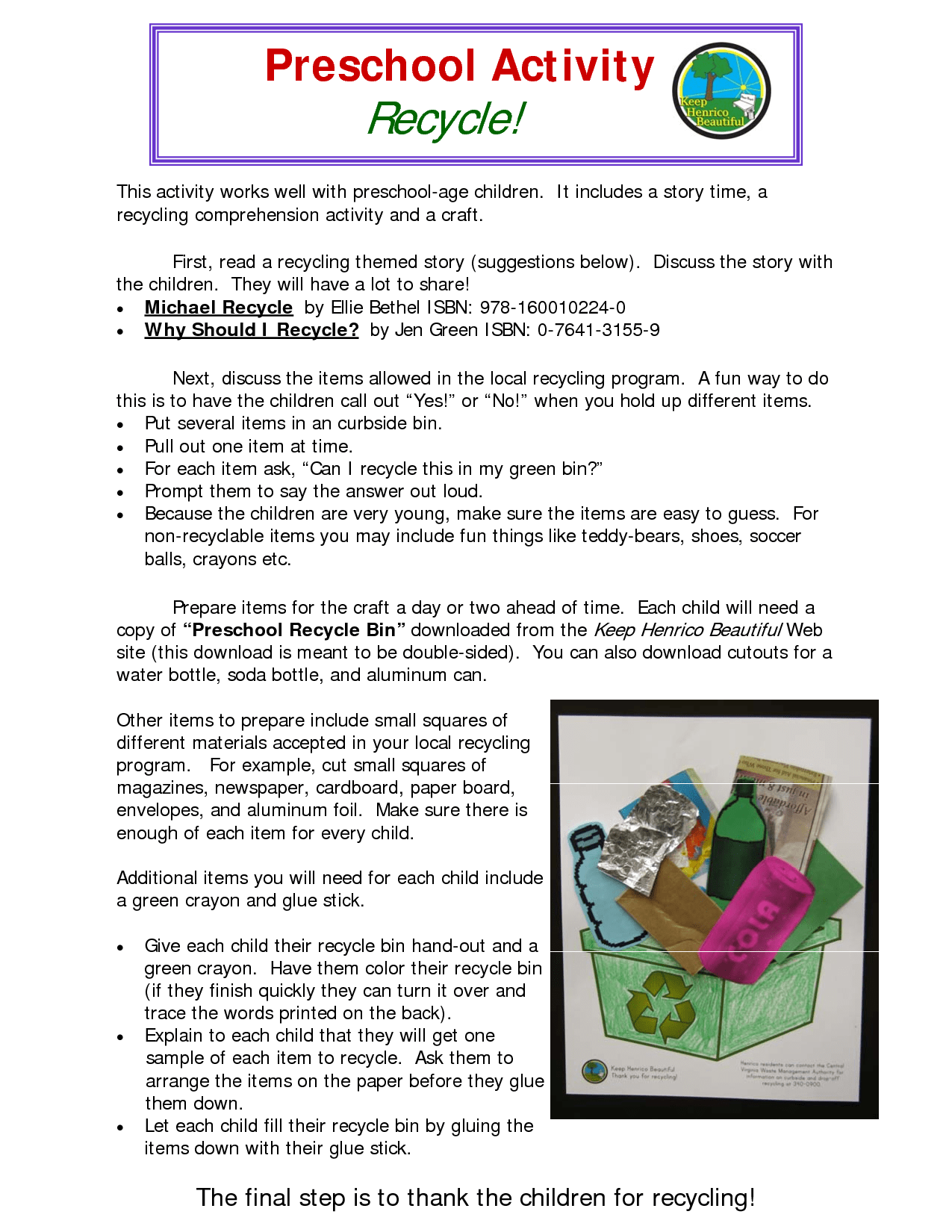 Recycling Preschool Activity Worksheet Link Henrico Utility S Preschool