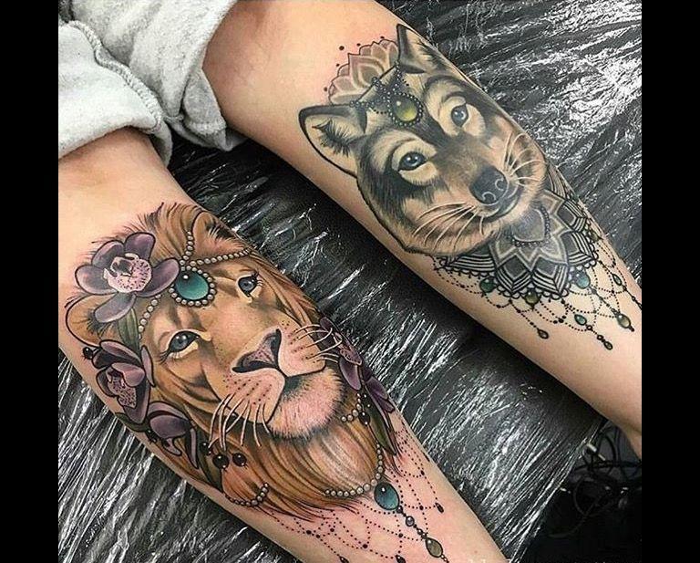 LION & WOLF LEG TATTOOS Tattoo Pinterest Leg tattoos