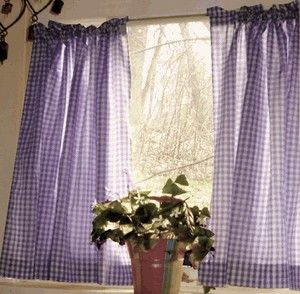 Dark Purple And White Cafe Curtains Gingham Check