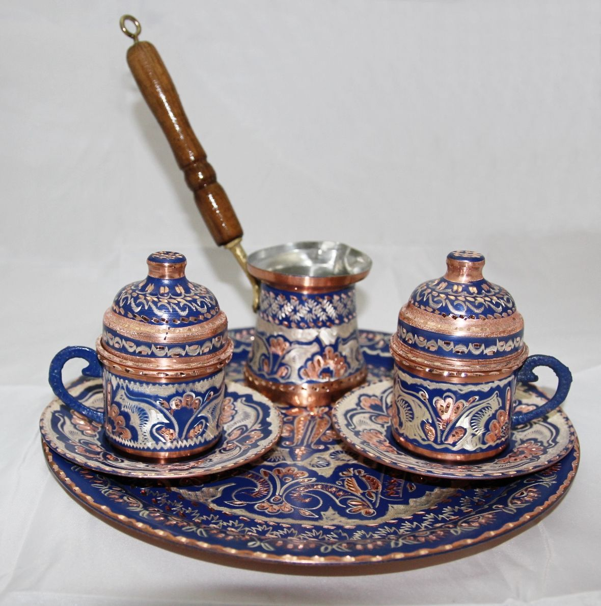 Hand hammered Turkish Coffee Set for Two. Blue Color