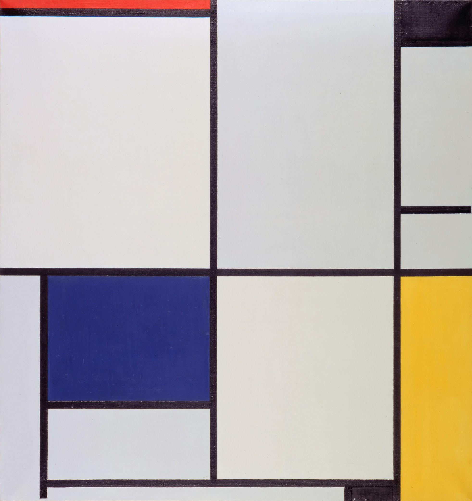 Piet Mondrian Tableau I (1921). Arte abstracto. Óleo