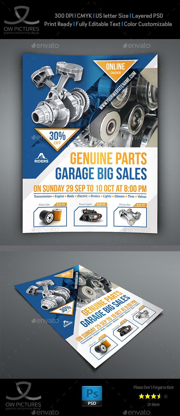 Auto Parts Flyer Template Flyer template, Template and