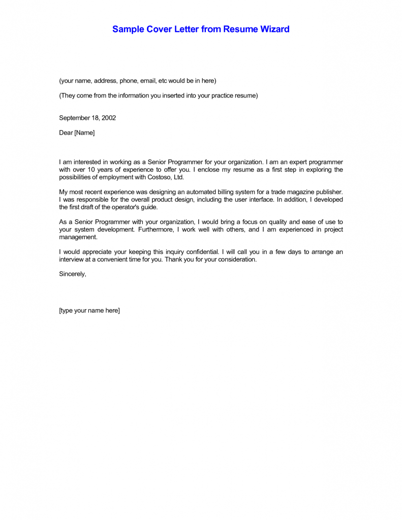 Cover Letter, Samples Of Cover Letters For Resumes With