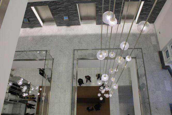 Bespoke Atrium Chandelier Lighting Design Build Installation By The Light Lab Architect