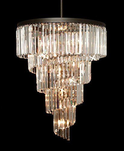 Retro Odeon Crystal Glass Fringe Helix 5 Tier Spiral Chandelier A7 1100 24