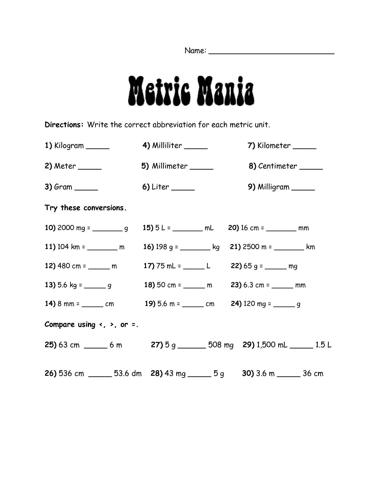 Unit Conversion Worksheet High School