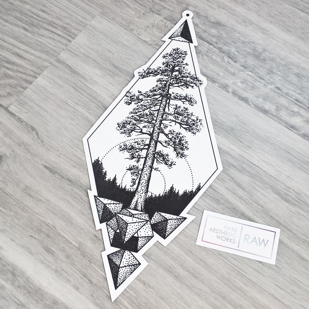 Cedar tree nature dotwork geometric tattoo design 2017