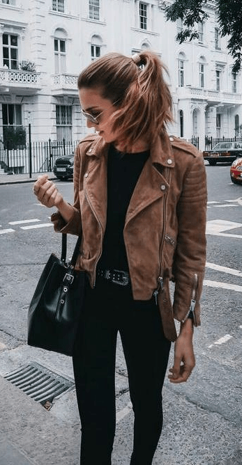street style. suede brown jacket. black tee, denim