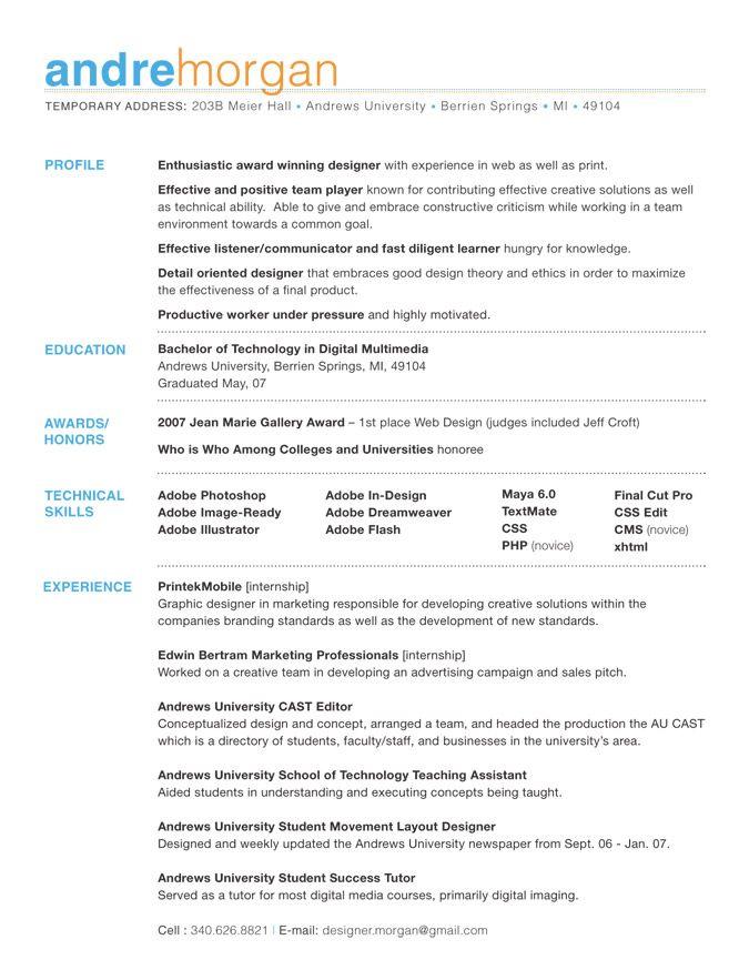 resume resume design and resume layout on pinterest