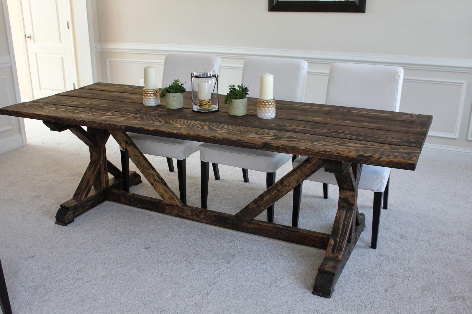 Wooden Farmhouse Table Plans DIY blueprints Farmhouse