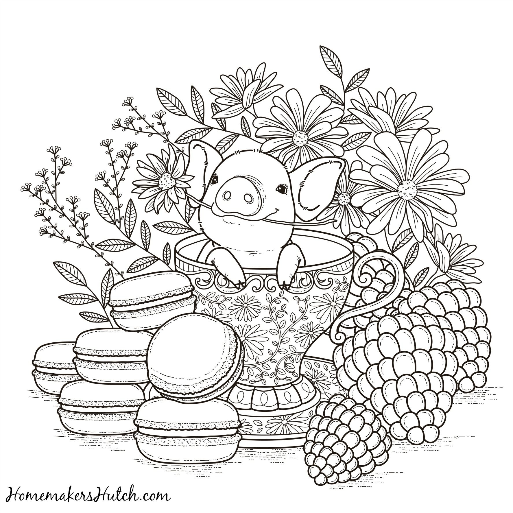 Pig in a Tea Cup Adult Coloring Page Tea cup, Cups and