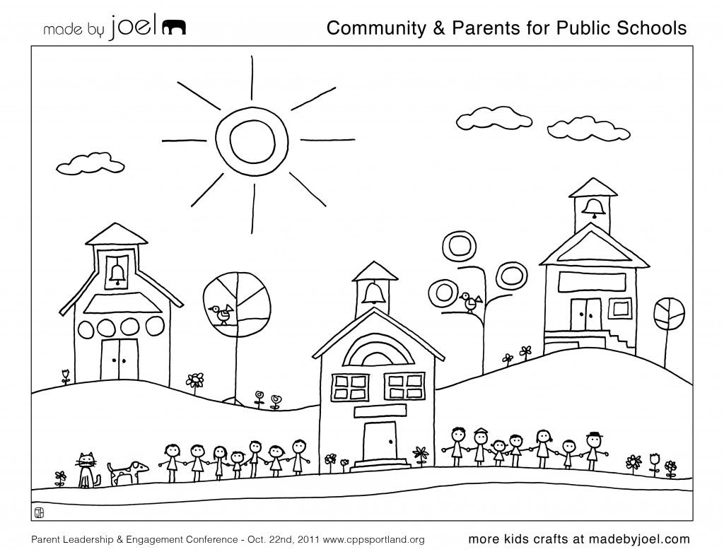 Awesome Public School Coloring Sheet From Made By Joel