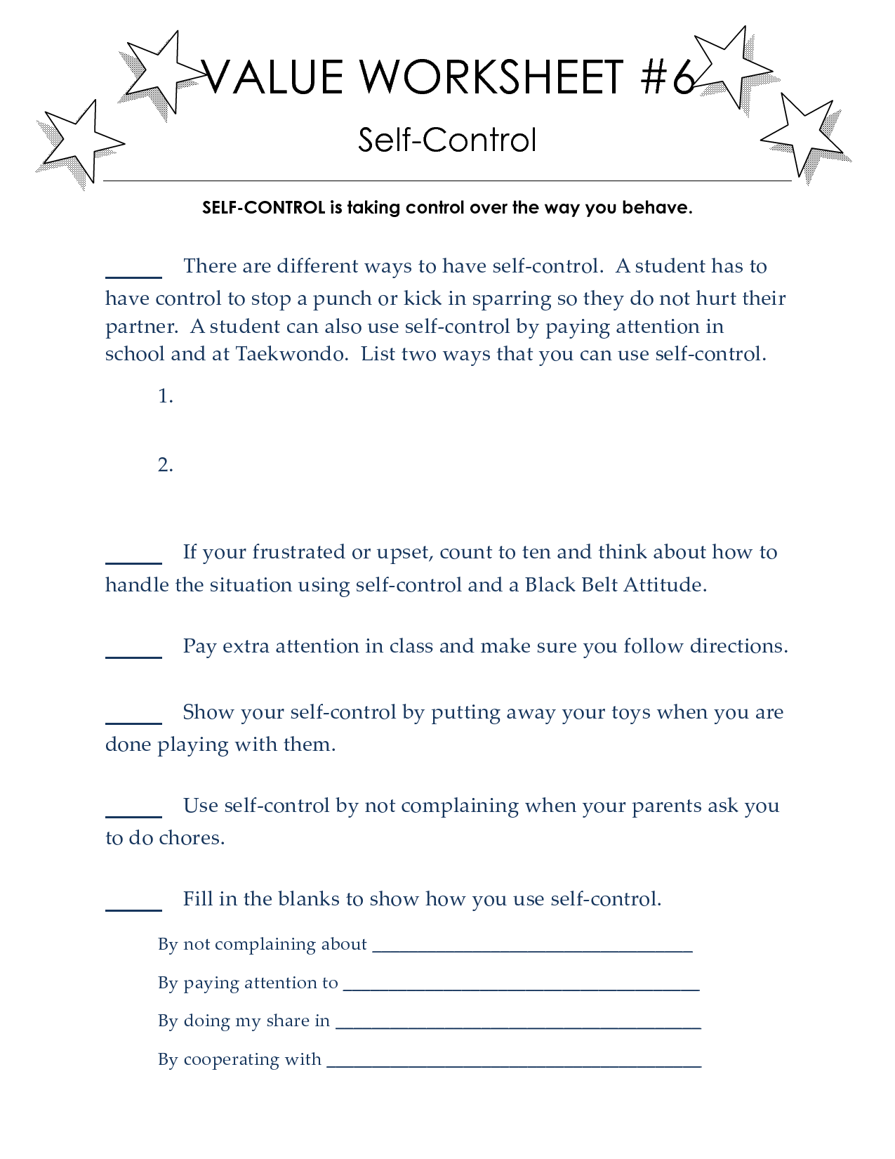 Taekwondo Worksheets To Print