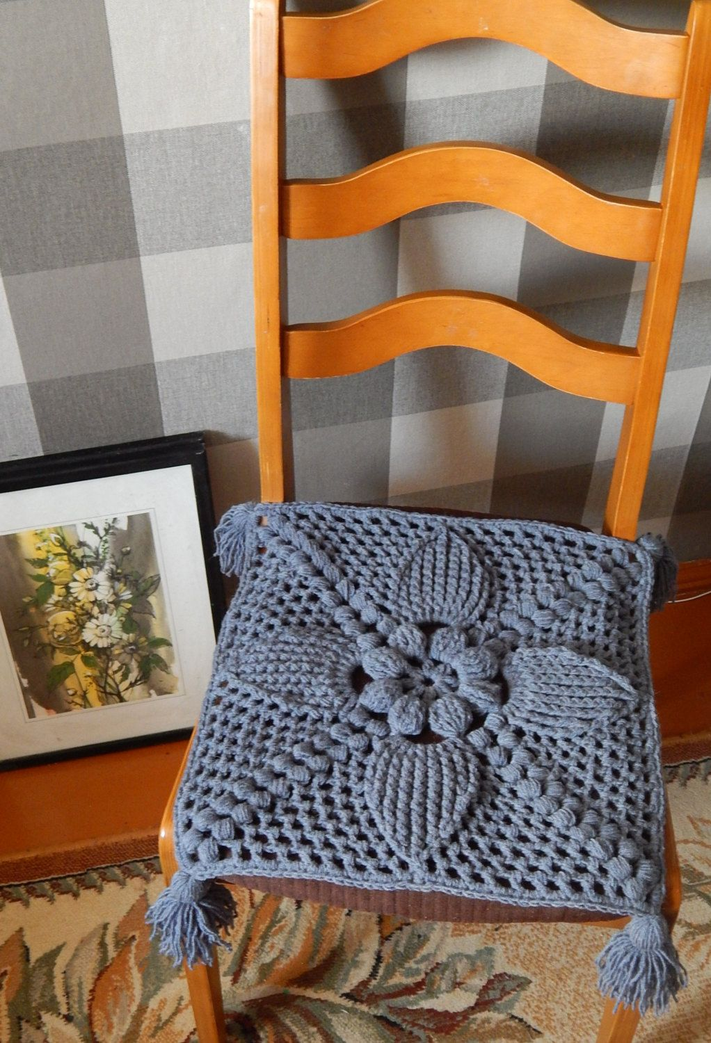 Seat Cushion, Crochet Chair Cover, Chair Pad, Farmhouse