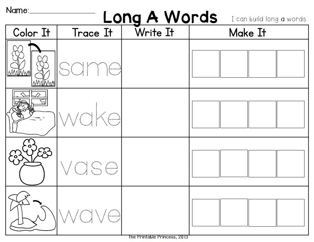 Long Vowel Cvce Word Work