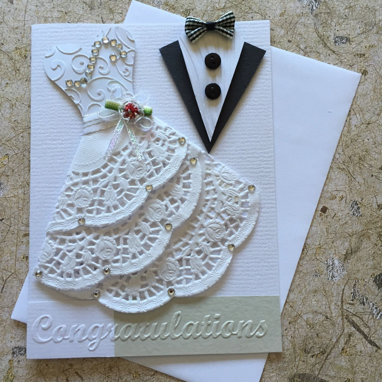 Handmade Wedding card. Blank insert White envelope