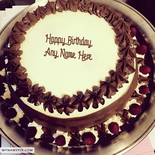 Write Name On Chocolate Ice Cream Birthday Cake Picture