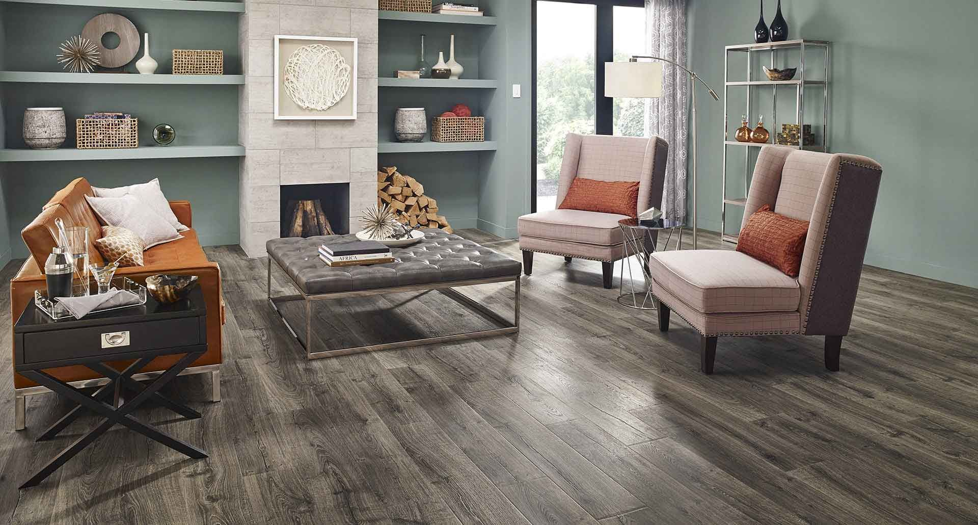 Vintage Pewter Oak natural laminate floor with wear and
