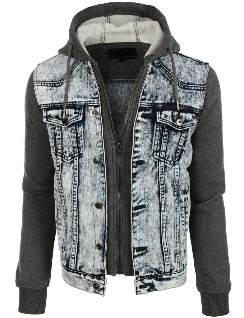 LE3NO Mens Casual Long Sleeve Denim Jean Jacket with
