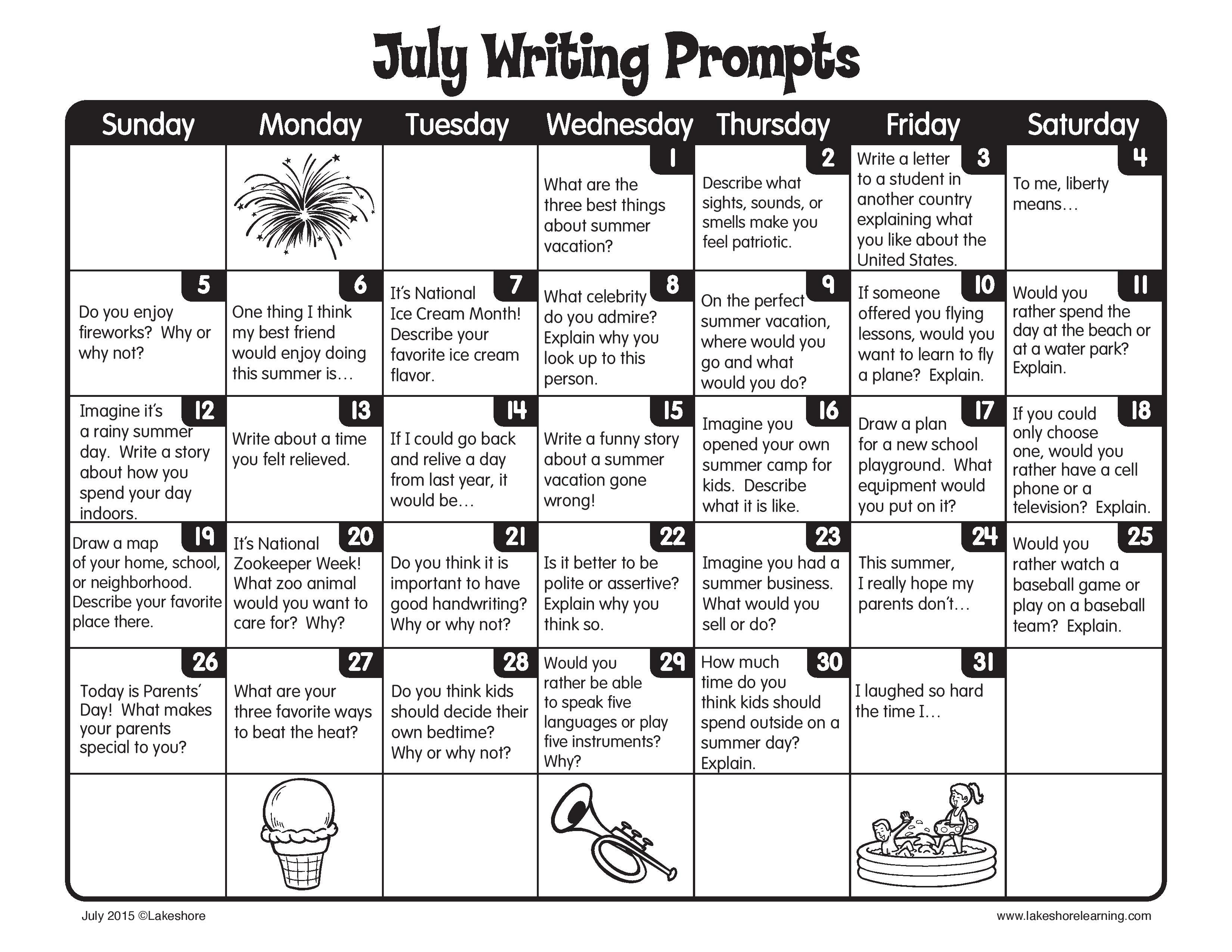 Keep Up The Daily Writing This Summer With Our July Writing Prompts